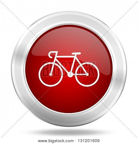 bicycle icon, red round metallic glossy button, web and mobile app design illustration