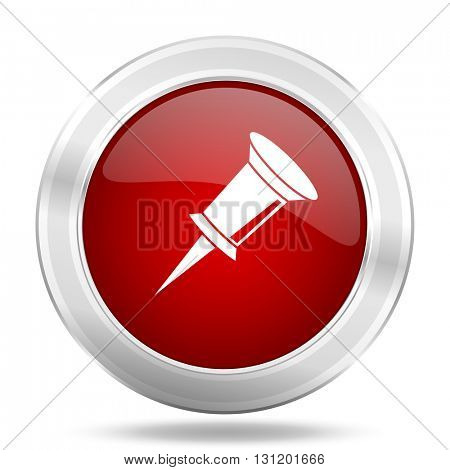 pin icon, red round metallic glossy button, web and mobile app design illustration