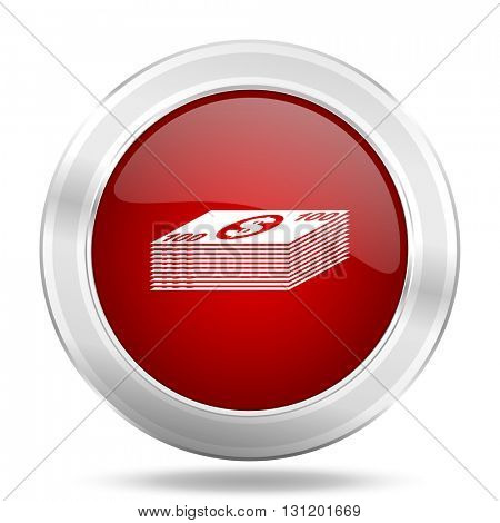 money icon, red round metallic glossy button, web and mobile app design illustration