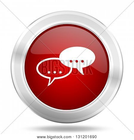 forum icon, red round metallic glossy button, web and mobile app design illustration