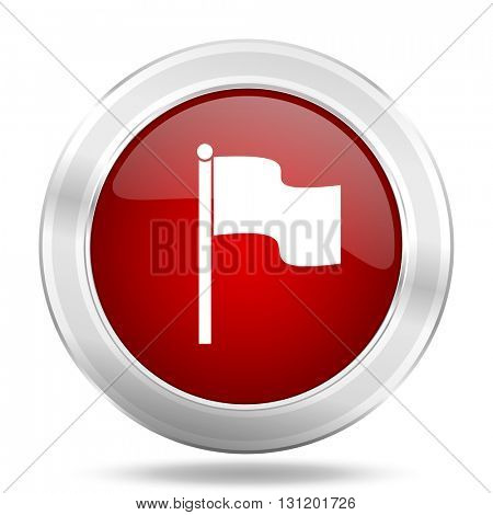 flag icon, red round metallic glossy button, web and mobile app design illustration