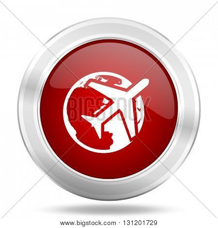travel icon, red round metallic glossy button, web and mobile app design illustration