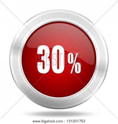 30 percent icon, red round metallic glossy button, web and mobile app design illustration