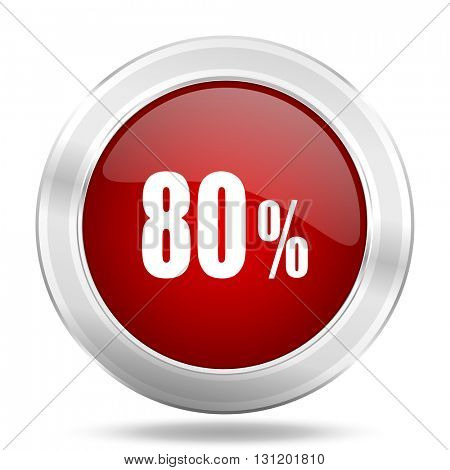80 percent icon, red round metallic glossy button, web and mobile app design illustration