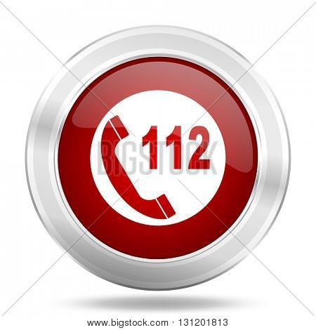 emergency call icon, red round metallic glossy button, web and mobile app design illustration