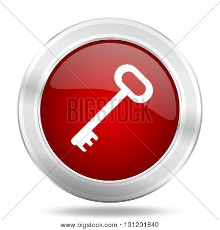 key icon, red round metallic glossy button, web and mobile app design illustration