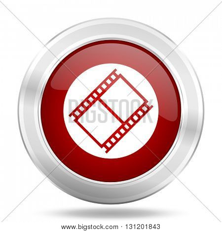 film icon, red round metallic glossy button, web and mobile app design illustration