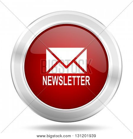 newsletter icon, red round metallic glossy button, web and mobile app design illustration
