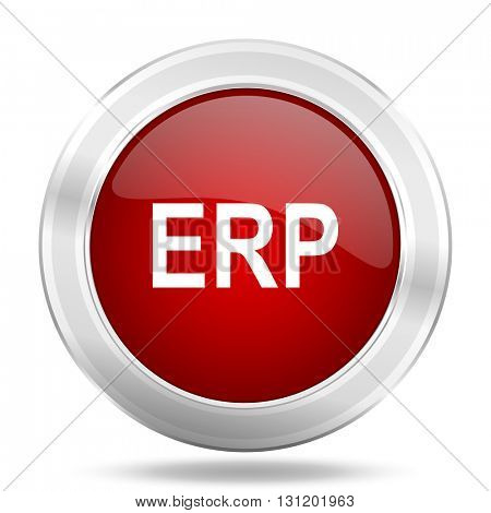 erp icon, red round metallic glossy button, web and mobile app design illustration
