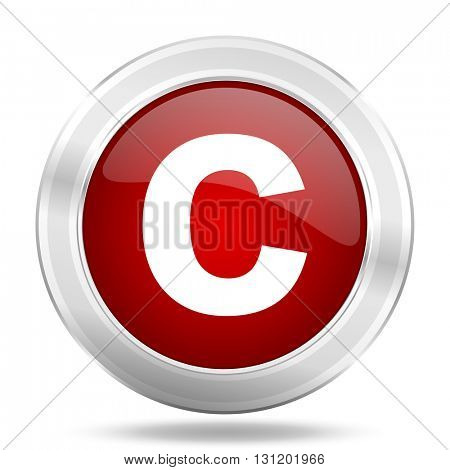 copyright icon, red round metallic glossy button, web and mobile app design illustration