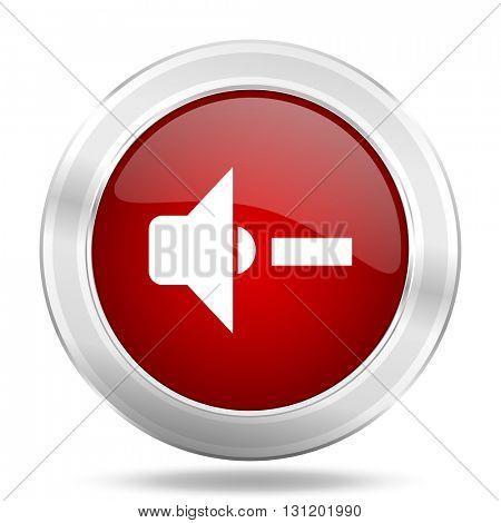speaker volume icon, red round metallic glossy button, web and mobile app design illustration