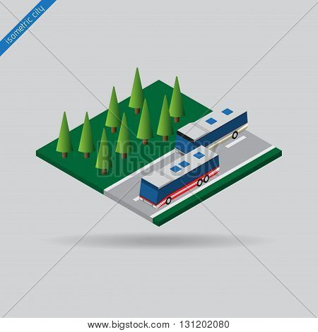isometric city - two buses on road with dashed line and trees