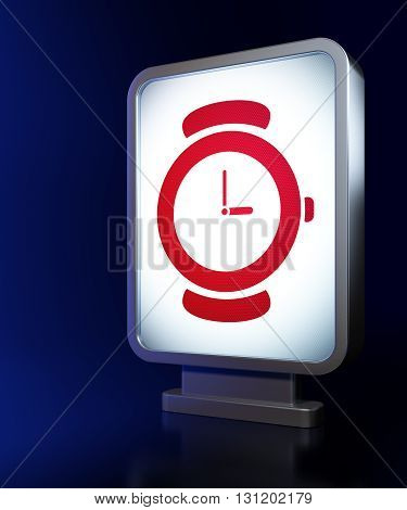 Timeline concept: Watch on advertising billboard background, 3D rendering