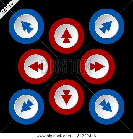 red and blue arrows in eight directions - on a black background