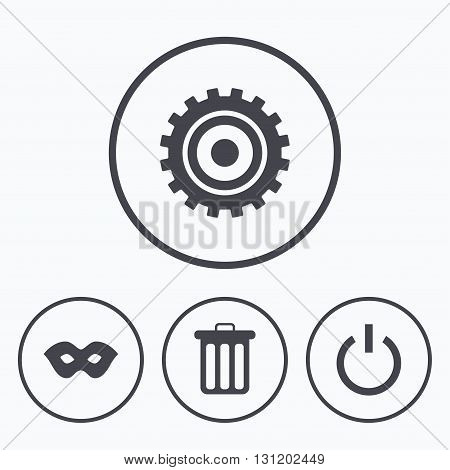 Anonymous mask and cogwheel gear icons. Recycle bin delete and power sign symbols. Icons in circles.
