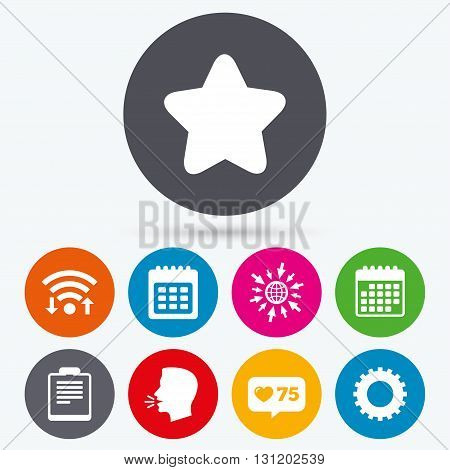 Wifi, like counter and calendar icons. Calendar and Star favorite icons. Checklist and cogwheel gear sign symbols. Human talk, go to web.