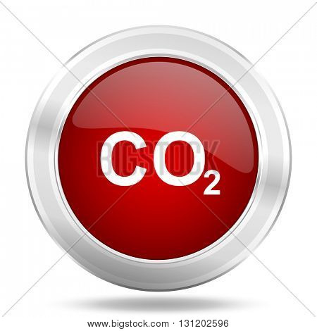 carbon dioxide icon, red round metallic glossy button, web and mobile app design illustration
