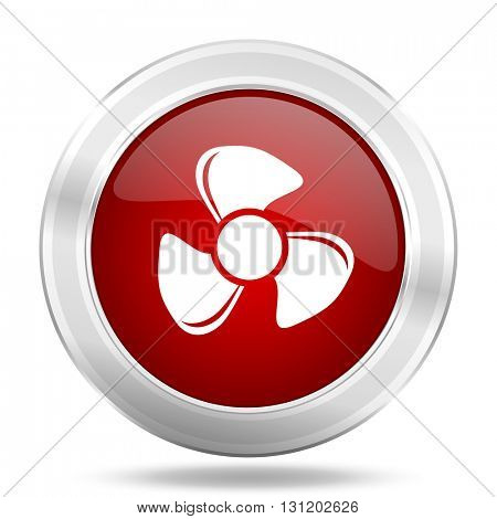 fan icon, red round metallic glossy button, web and mobile app design illustration