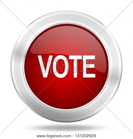 vote icon, red round metallic glossy button, web and mobile app design illustration