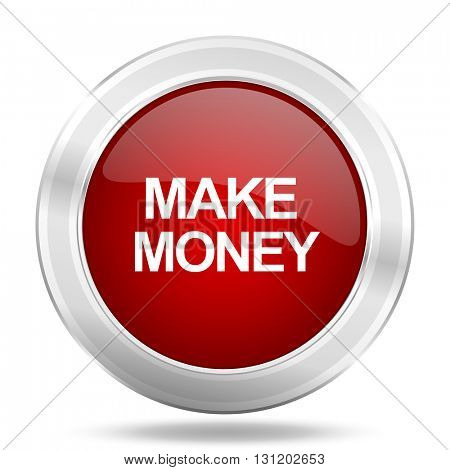 make money icon, red round metallic glossy button, web and mobile app design illustration