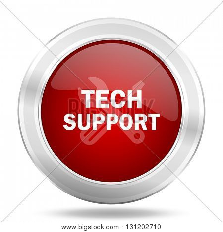 technical support icon, red round metallic glossy button, web and mobile app design illustration