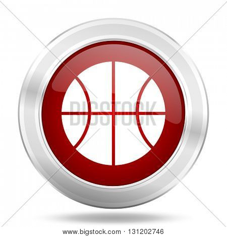 ball icon, red round metallic glossy button, web and mobile app design illustration
