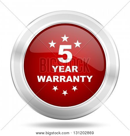 warranty guarantee 5 year icon, red round metallic glossy button, web and mobile app design illustration