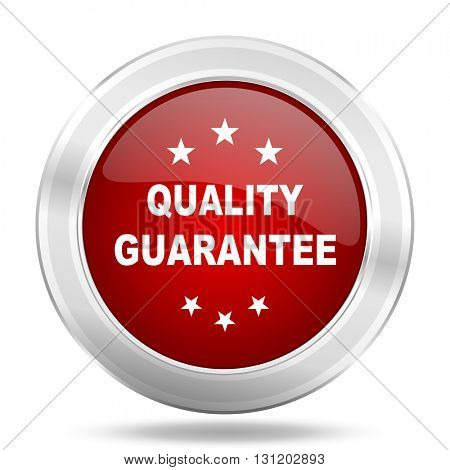 quality guarantee icon, red round metallic glossy button, web and mobile app design illustration