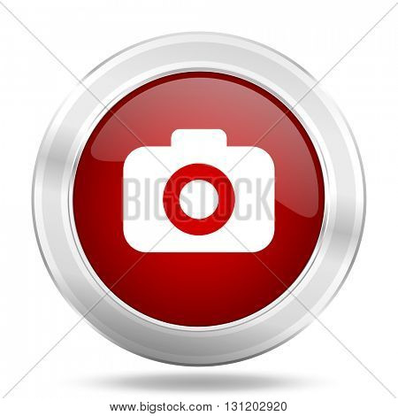 photo camera icon, red round metallic glossy button, web and mobile app design illustration