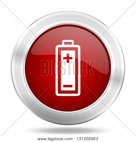 battery icon, red round metallic glossy button, web and mobile app design illustration