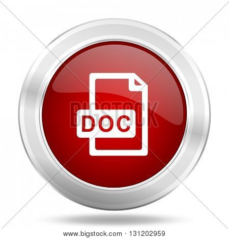 doc file icon, red round metallic glossy button, web and mobile app design illustration