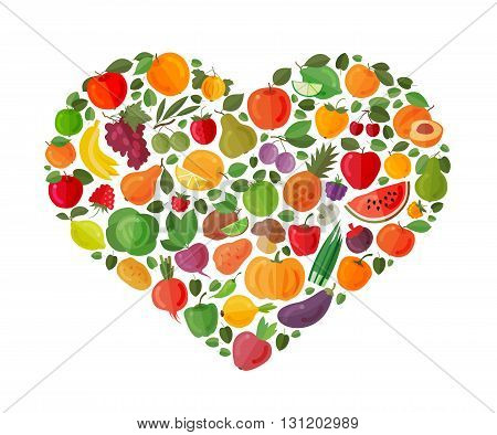 heart made of fruits and vegetables. vector illustration