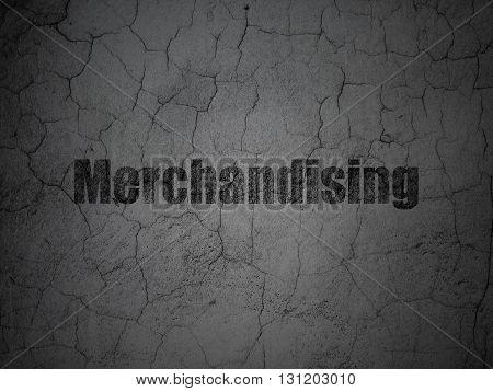 Advertising concept: Black Merchandising on grunge textured concrete wall background