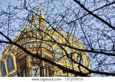 Cupola Of The New Synagogue Berlin, Seen Through Some Branches