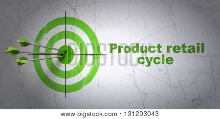 Success advertising concept: arrows hitting the center of target, Green Product retail Cycle on wall background, 3D rendering