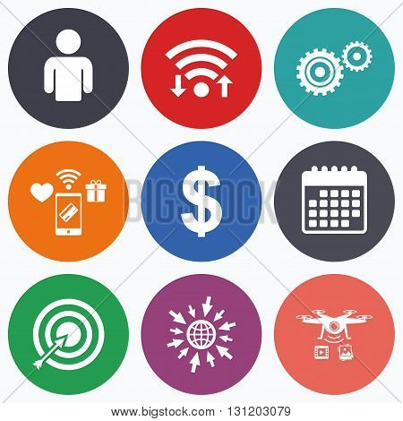 Wifi, mobile payments and drones icons. Business icons. Human silhouette and aim targer with arrow signs. Dollar currency and gear symbols. Calendar symbol.
