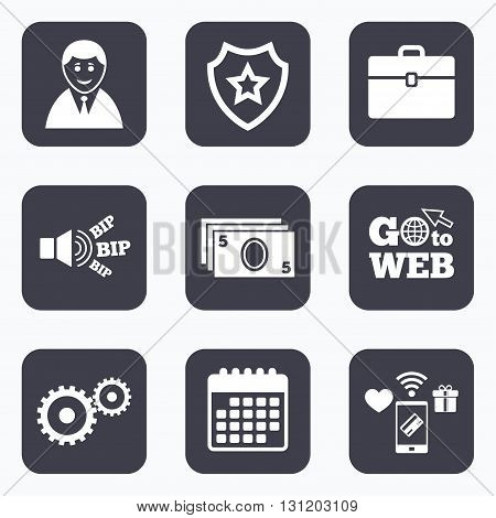 Mobile payments, wifi and calendar icons. Businessman icons. Human silhouette and cash money signs. Case and gear symbols. Go to web symbol.
