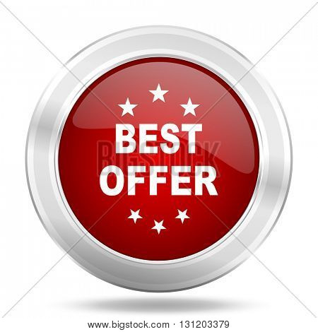 best offer icon, red round metallic glossy button, web and mobile app design illustration
