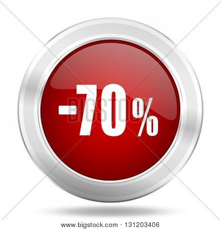 70 percent sale retail icon, red round metallic glossy button, web and mobile app design illustration