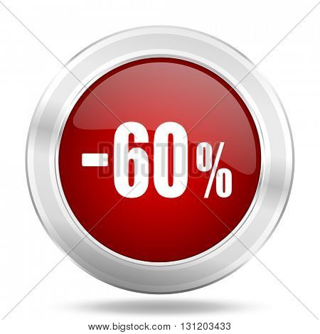 60 percent sale retail icon, red round metallic glossy button, web and mobile app design illustration