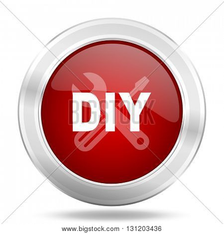 diy icon, red round metallic glossy button, web and mobile app design illustration