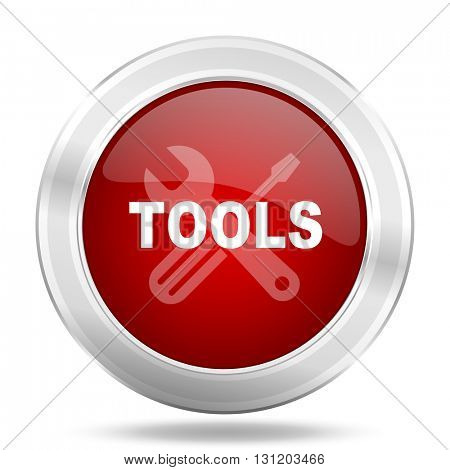 tools icon, red round metallic glossy button, web and mobile app design illustration