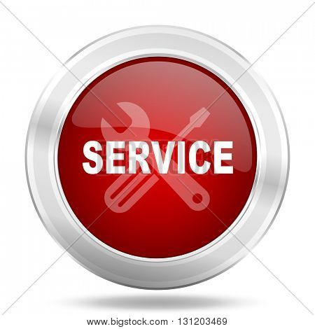 service icon, red round metallic glossy button, web and mobile app design illustration