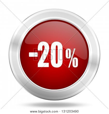 20 percent sale retail icon, red round metallic glossy button, web and mobile app design illustration