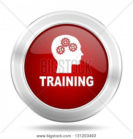 training icon, red round metallic glossy button, web and mobile app design illustration