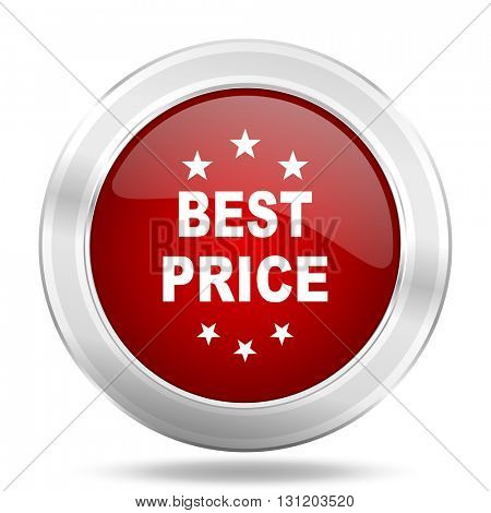 best price icon, red round metallic glossy button, web and mobile app design illustration