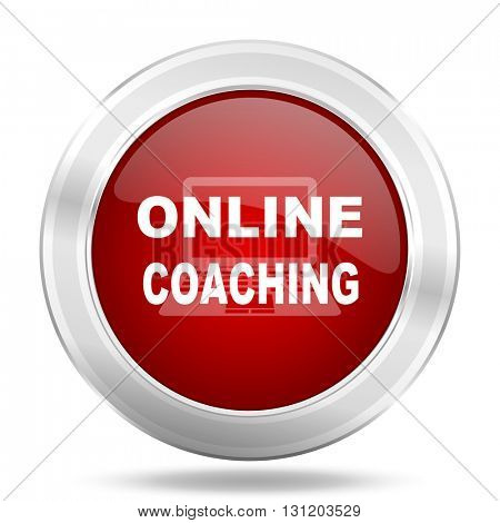 online coaching icon, red round metallic glossy button, web and mobile app design illustration