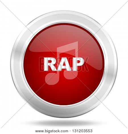 rap music icon, red round metallic glossy button, web and mobile app design illustration