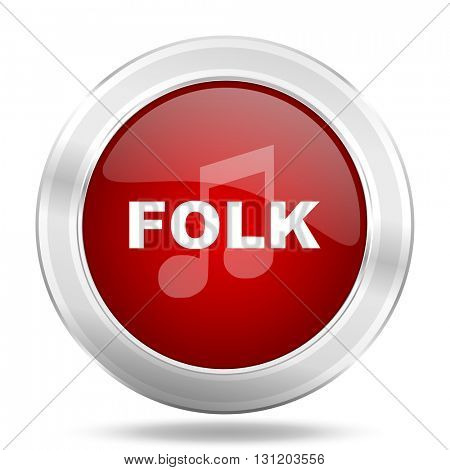 folk music icon, red round metallic glossy button, web and mobile app design illustration