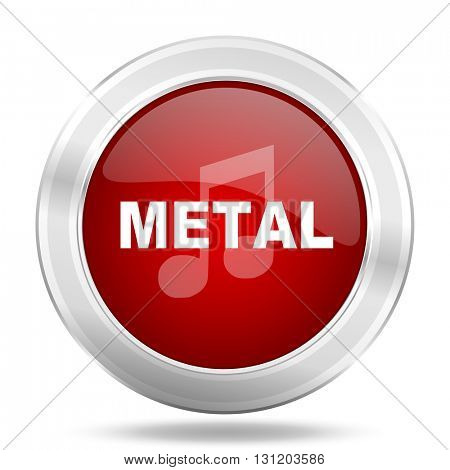 metal music icon, red round metallic glossy button, web and mobile app design illustration